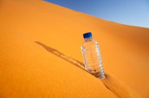 water bottle in desert